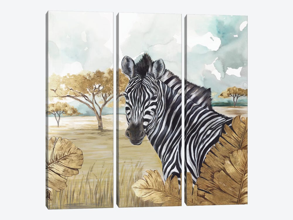 Golden Zebras by Eva Watts 3-piece Canvas Art Print