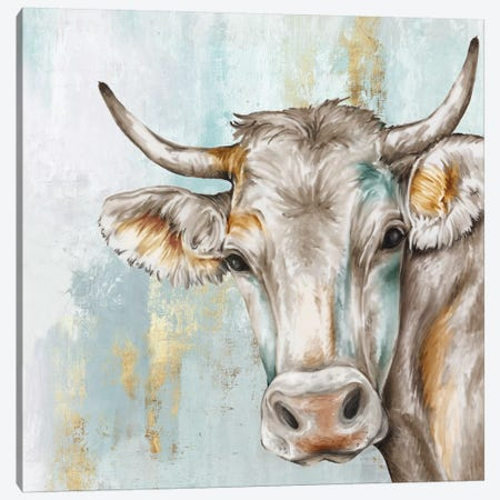 Headstrong Cow Canvas Print #EWA108} by Eva Watts Canvas Wall Art