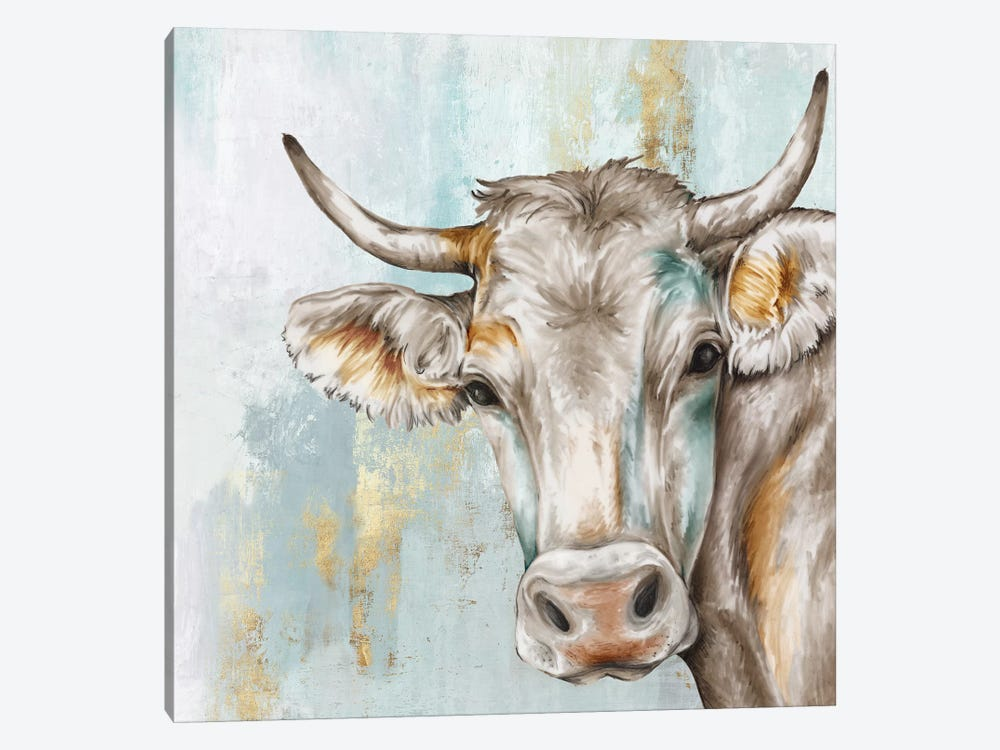 Headstrong Cow by Eva Watts 1-piece Canvas Artwork