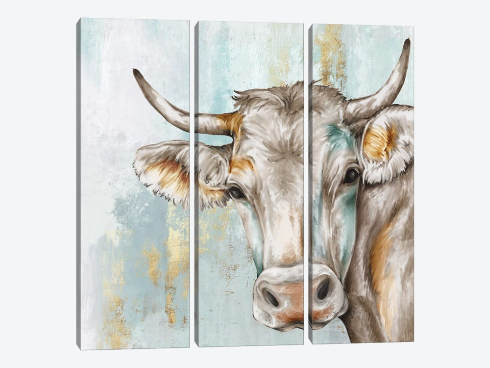 Headstrong Cow by Eva Watts 3-piece Canvas Wall Art