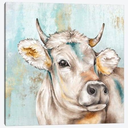 Headstrong Cow I Canvas Print #EWA109} by Eva Watts Canvas Artwork