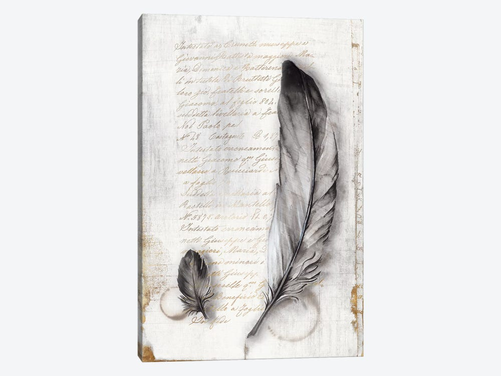 Vintage Feathers II  by Eva Watts 1-piece Canvas Print