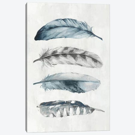 Indigo Feathers I  Canvas Print #EWA184} by Eva Watts Canvas Print