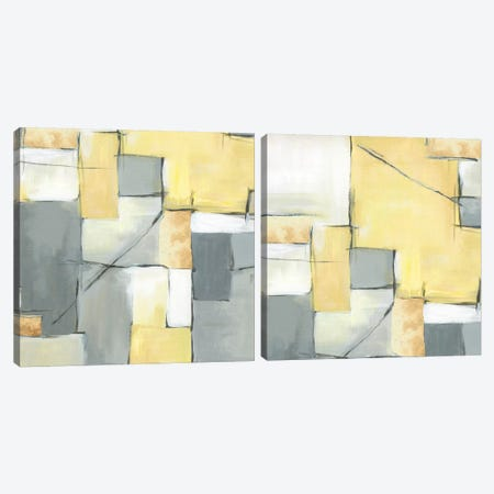 Golden Abstract Diptych Canvas Print Set #EWA2HSET002} by Eva Watts Canvas Art Print