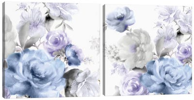Light Floral Diptych Canvas Art Print