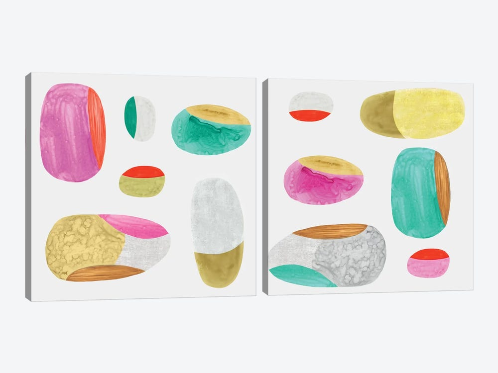 Color Combo Diptych by Eva Watts 2-piece Canvas Artwork