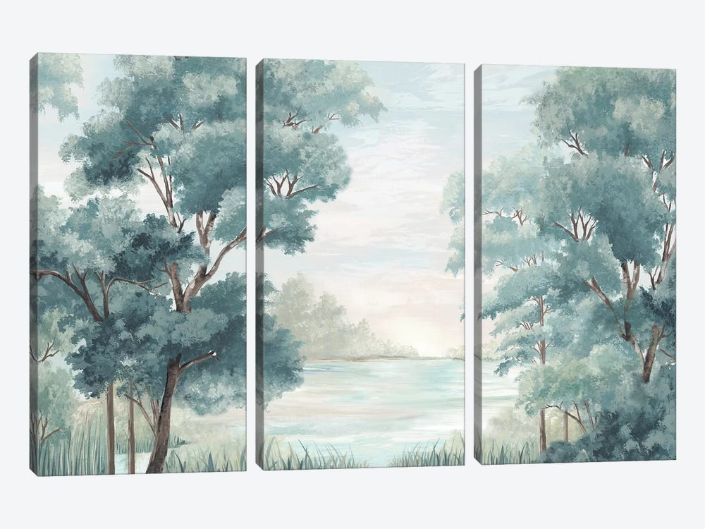 Calm Forest River by Eva Watts 3-piece Canvas Print