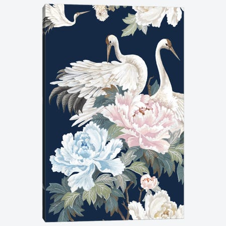 Pearly White Cranes I Canvas Print #EWA347} by Eva Watts Canvas Art Print