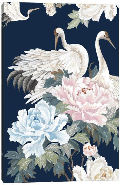 Pearly White Cranes I Canvas Art Print