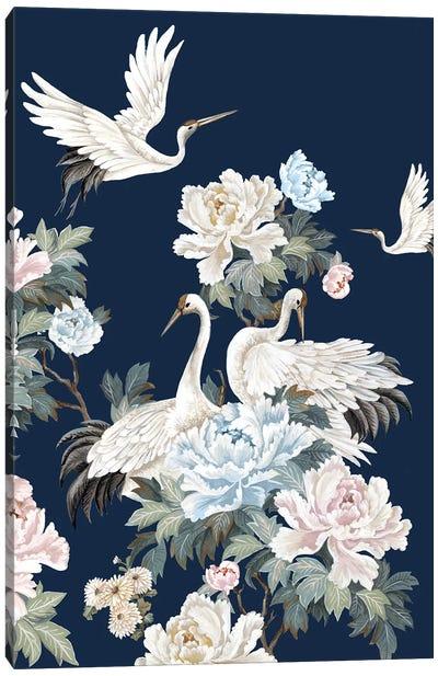 Pearly White Cranes II Canvas Art Print