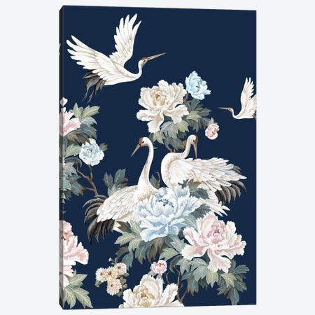 Pearly White Cranes II Canvas Print #EWA348} by Eva Watts Canvas Artwork