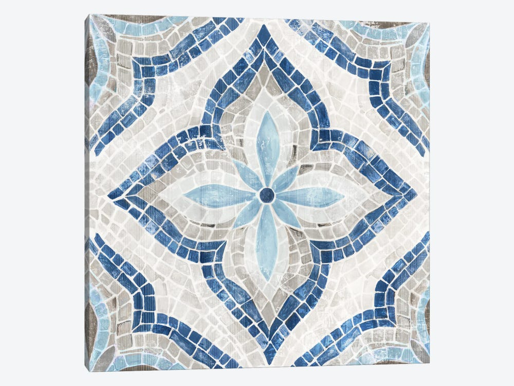 Blue Single  Morrocan Tile by Eva Watts 1-piece Canvas Art Print