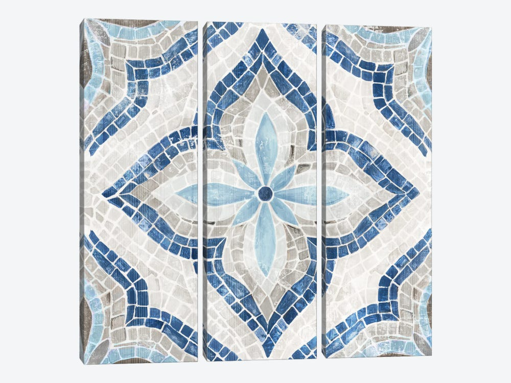 Blue Single  Morrocan Tile by Eva Watts 3-piece Art Print