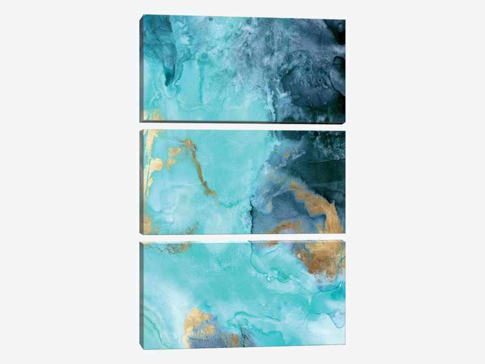 Gold Under The Sea II 3-piece Canvas Wall Art