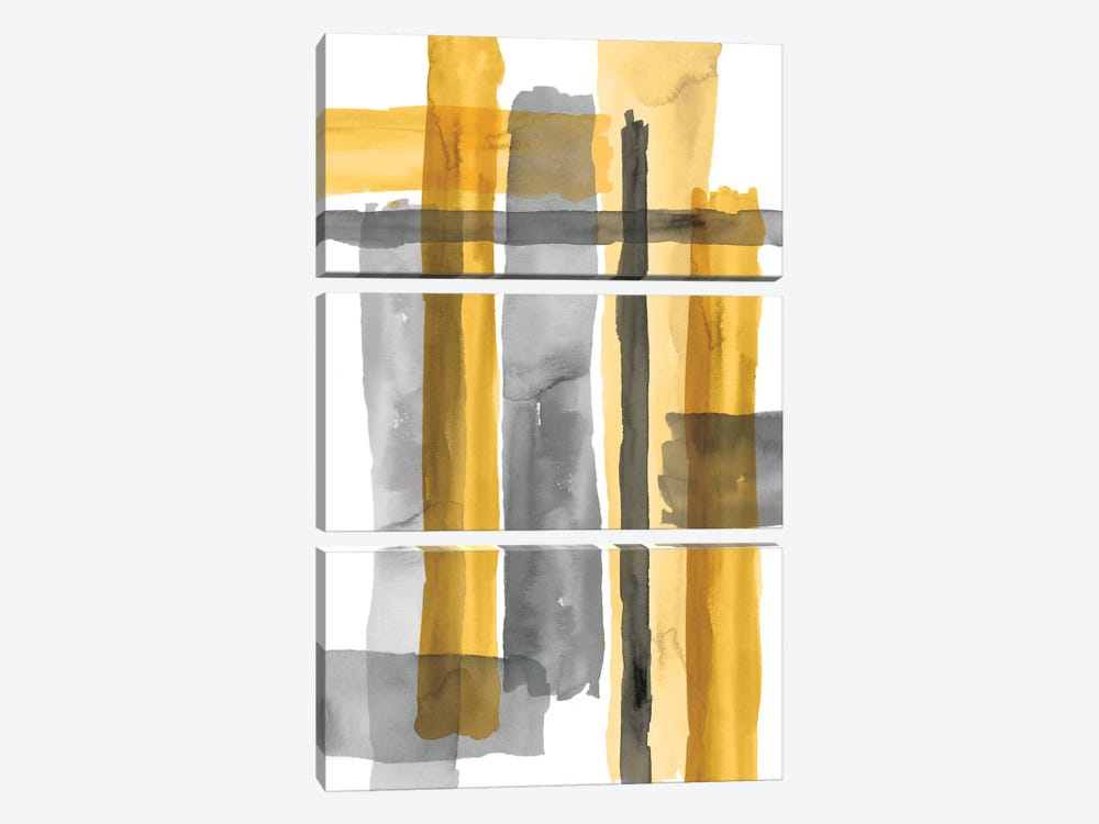 Golden Criss-Cross by Eva Watts 3-piece Canvas Print