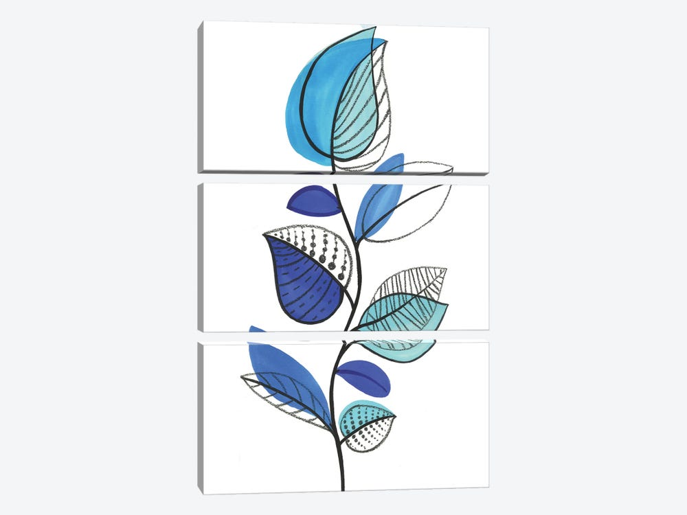 Illustrative Blue by Eva Watts 3-piece Canvas Artwork