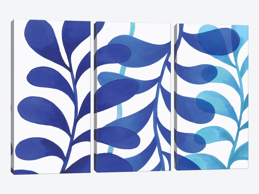 Indigo In Three by Eva Watts 3-piece Canvas Print