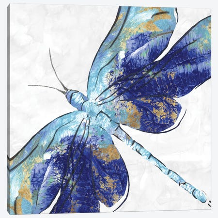 Blue Dragonfly  Canvas Print #EWA83} by Eva Watts Canvas Art