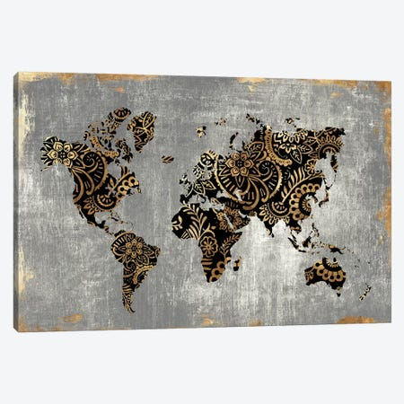 Gold World Map  Canvas Print #EWA99} by Eva Watts Canvas Art Print