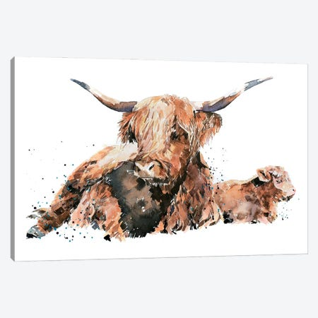 Highland Cattle Canvas Print #EWC110} by EdsWatercolours Canvas Wall Art