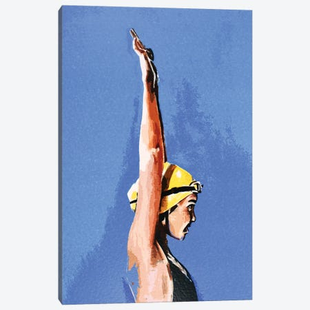 In Coming The Swimmer Canvas Print #EWC117} by EdsWatercolours Canvas Print