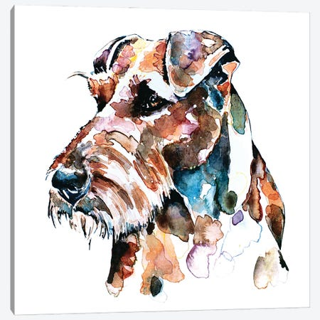 Irish Terrier Patchwork Canvas Print #EWC121} by EdsWatercolours Canvas Art Print