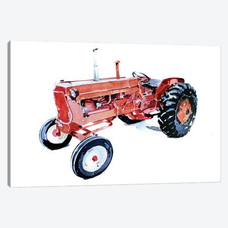 Lil Red Tractor Canvas Print #EWC130} by EdsWatercolours Canvas Artwork