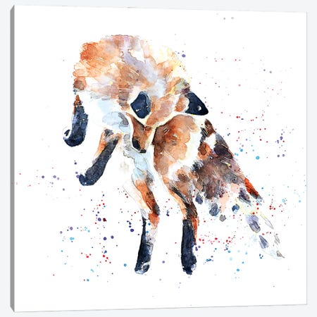 Mousing Fox I Canvas Print #EWC138} by EdsWatercolours Canvas Art