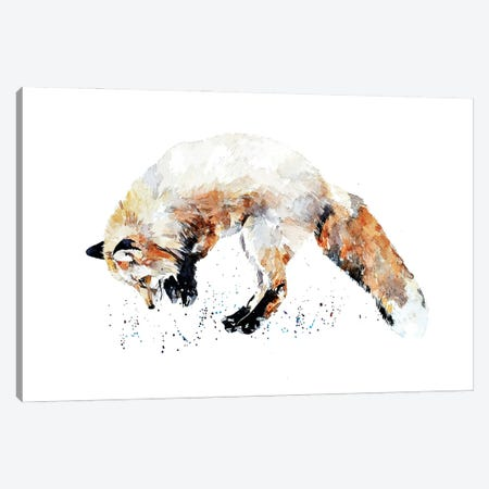 Mousing Fox II Canvas Print #EWC139} by EdsWatercolours Canvas Art