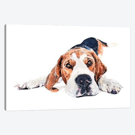 Beagle Play Time Canvas Print #EWC14} by EdsWatercolours Canvas Wall Art