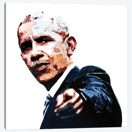 Obama Canvas Print #EWC152} by EdsWatercolours Canvas Wall Art
