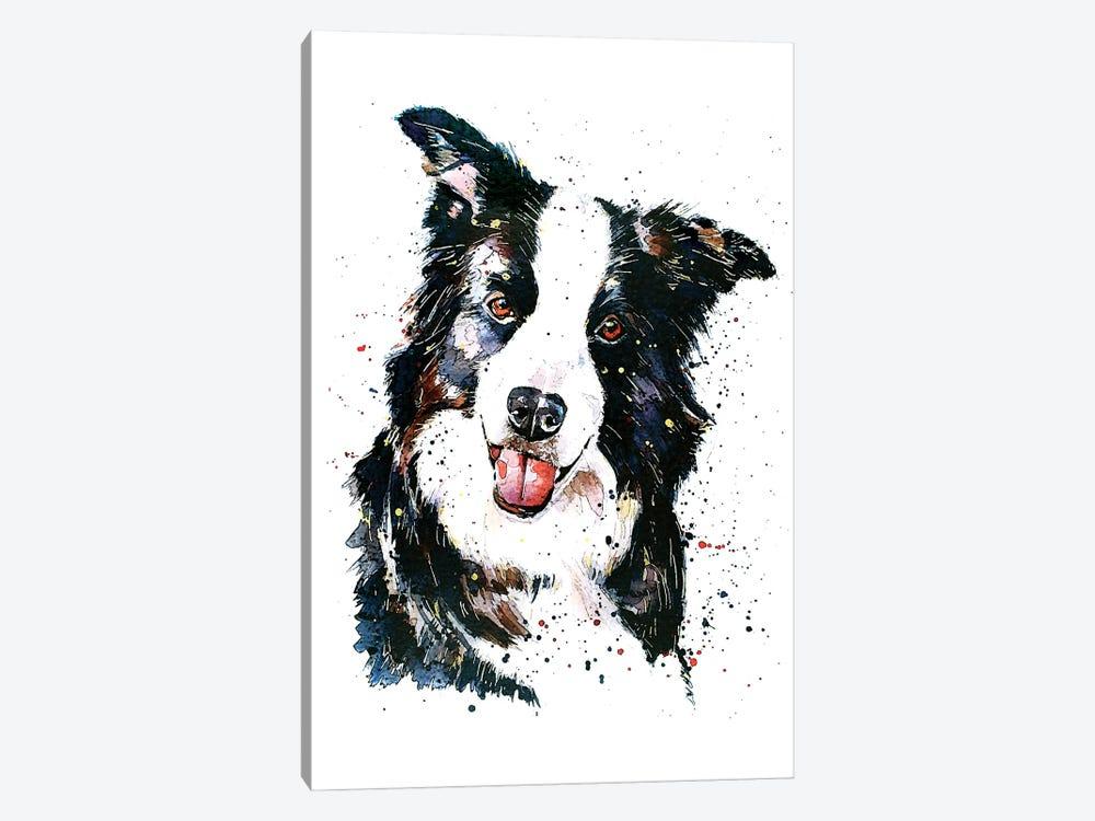 Pursuit Of Hapiness Border Collie by EdsWatercolours 1-piece Canvas Art Print