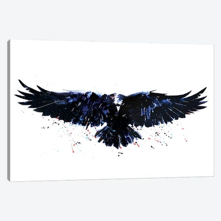 Raven Canvas Print #EWC166} by EdsWatercolours Canvas Wall Art