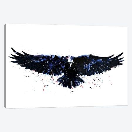 Raven Canvas Print #EWC166} by EdsWatercolours Canvas Wall Art