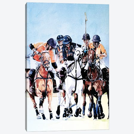 Ride Off Polo Canvas Print #EWC170} by EdsWatercolours Canvas Art
