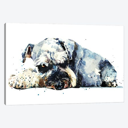 Schnauzer I Canvas Print #EWC178} by EdsWatercolours Canvas Wall Art