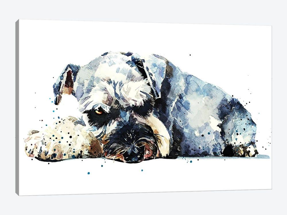 Schnauzer I by EdsWatercolours 1-piece Canvas Print