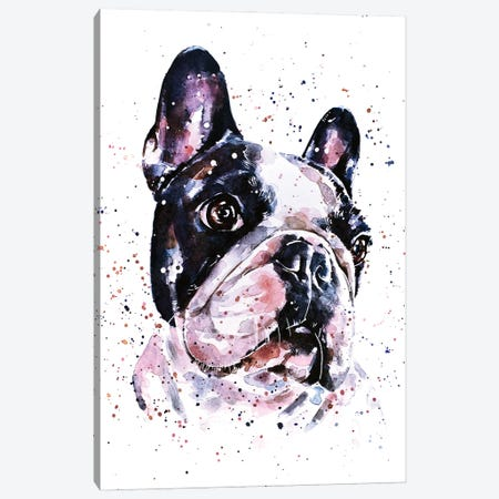A Penny For Your Thoughts French Bulldog Canvas Print #EWC1} by EdsWatercolours Art Print