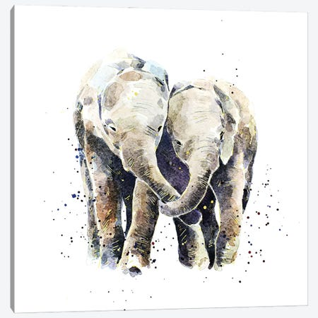 Two Elephants Canvas Print #EWC201} by EdsWatercolours Canvas Art