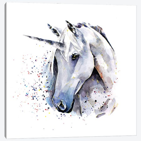 Unicorn Canvas Print #EWC203} by EdsWatercolours Canvas Art
