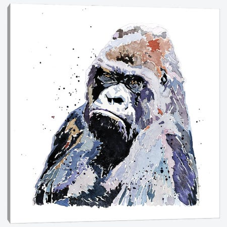 Big Boy Gorilla Canvas Print #EWC22} by EdsWatercolours Canvas Wall Art