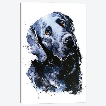Black Labrador Patiently Waiting Canvas Print #EWC30} by EdsWatercolours Canvas Art Print