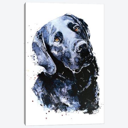 Black Labrador Patiently Waiting Canvas Print #EWC30} by EdsWatercolours Canvas Art Print
