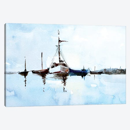 Boats Canvas Print #EWC32} by EdsWatercolours Canvas Print
