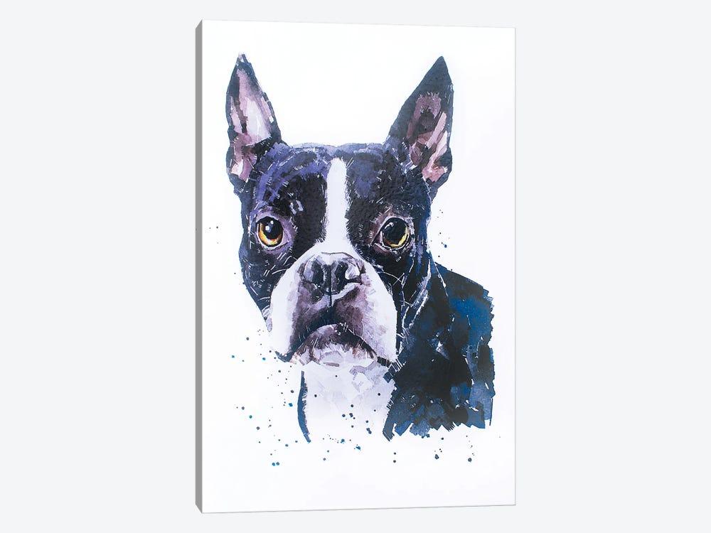 Boston Terrier by EdsWatercolours 1-piece Canvas Art Print