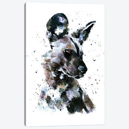 African Wild Dog Pomp Canvas Print #EWC3} by EdsWatercolours Art Print