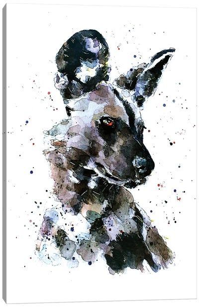 African Wild Dog Pomp Canvas Art Print