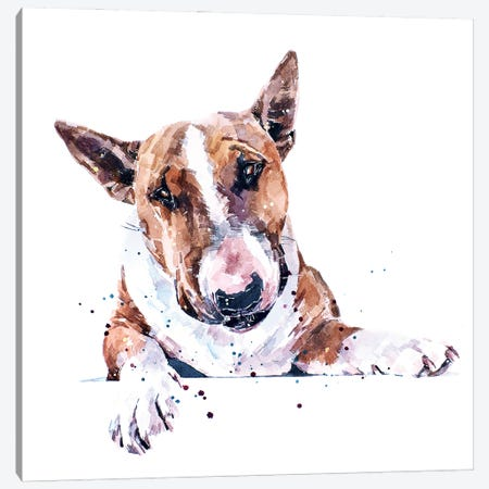 Bull Terrier Canvas Print #EWC45} by EdsWatercolours Art Print
