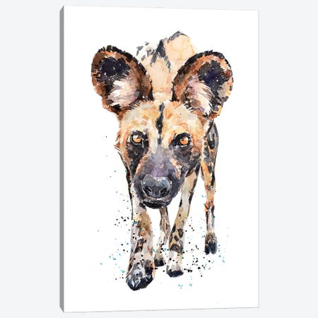 African Wild Dog What's Cooking Canvas Print #EWC4} by EdsWatercolours Canvas Artwork