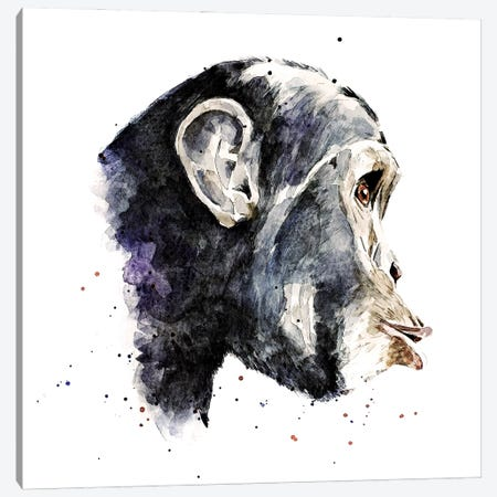 Chimp Canvas Print #EWC56} by EdsWatercolours Canvas Wall Art